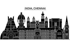 India, Chennai architecture urban skyline with landmarks, cityscape, buildings, houses, ,vector city landscape, editable strokes