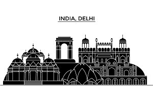 India, Delhi architecture urban skyline with landmarks, cityscape, buildings, houses, ,vector city landscape, editable strokes