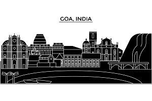 India, Goa architecture urban skyline with landmarks, cityscape, buildings, houses, ,vector city landscape, editable strokes