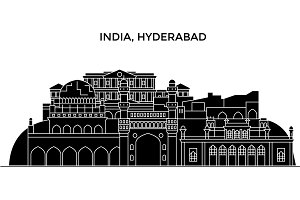 India, Hyderabad architecture urban skyline with landmarks, cityscape, buildings, houses, ,vector city landscape, editable strokes