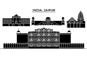 India, Jaipur architecture urban skyline with landmarks, cityscape, buildings, houses, ,vector city landscape, editable strokes