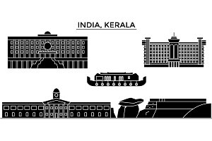 India, Kerala architecture urban skyline with landmarks, cityscape, buildings, houses, ,vector city landscape, editable strokes