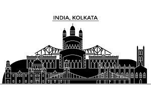 India, Kolkata architecture urban skyline with landmarks, cityscape, buildings, houses, ,vector city landscape, editable strokes
