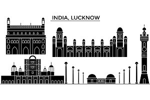 India, Lucknow architecture urban skyline with landmarks, cityscape, buildings, houses, ,vector city landscape, editable strokes