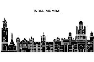 India, Mumbai architecture urban skyline with landmarks, cityscape, buildings, houses, ,vector city landscape, editable strokes