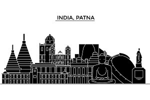 India, Patna architecture urban skyline with landmarks, cityscape, buildings, houses, ,vector city landscape, editable strokes