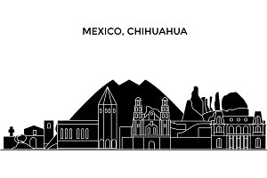 Mexico, Chihuahua architecture urban skyline with landmarks, cityscape, buildings, houses, ,vector city landscape, editable strokes