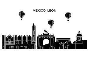 Mexico, Leon architecture urban skyline with landmarks, cityscape, buildings, houses, ,vector city landscape, editable strokes