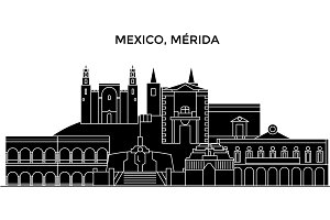 Mexico, Merida architecture urban skyline with landmarks, cityscape, buildings, houses, ,vector city landscape, editable strokes