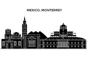 Mexico, Monterrey architecture urban skyline with landmarks, cityscape, buildings, houses, ,vector city landscape, editable strokes