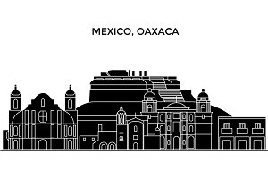 Mexico, Oaxaca architecture urban skyline with landmarks, cityscape, buildings, houses, ,vector city landscape, editable strokes