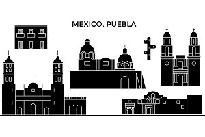 Mexico, Puebla architecture urban skyline with landmarks, cityscape, buildings, houses, ,vector city landscape, editable strokes