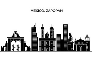 Mexico, Zapopan architecture urban skyline with landmarks, cityscape, buildings, houses, ,vector city landscape, editable strokes