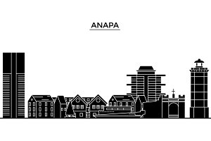 Russia, Anapa architecture urban skyline with landmarks, cityscape, buildings, houses, ,vector city landscape, editable strokes