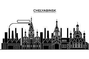 Russia, Chelyabinsk architecture urban skyline with landmarks, cityscape, buildings, houses, ,vector city landscape, editable strokes