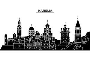 Russia, Karelia architecture urban skyline with landmarks, cityscape, buildings, houses, ,vector city landscape, editable strokes