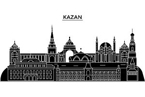 Russia, Kazan architecture urban skyline with landmarks, cityscape, buildings, houses, ,vector city landscape, editable strokes