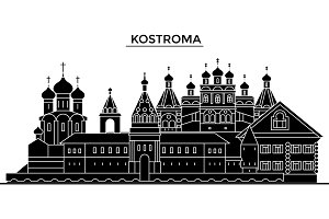 Russia, Kostroma architecture urban skyline with landmarks, cityscape, buildings, houses, ,vector city landscape, editable strokes