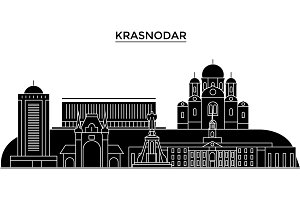Russia, Kransodar architecture urban skyline with landmarks, cityscape, buildings, houses, ,vector city landscape, editable strokes