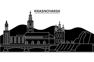 Russia, Krasnoyarsk architecture urban skyline with landmarks, cityscape, buildings, houses, ,vector city landscape, editable strokes