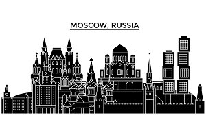 Russia, Moscow architecture urban skyline with landmarks, cityscape, buildings, houses, ,vector city landscape, editable strokes