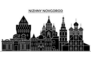 Russia, Nizhny Novgorod architecture urban skyline with landmarks, cityscape, buildings, houses, ,vector city landscape, editable strokes
