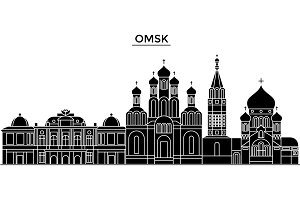 Russia, Omsk architecture urban skyline with landmarks, cityscape, buildings, houses, ,vector city landscape, editable strokes