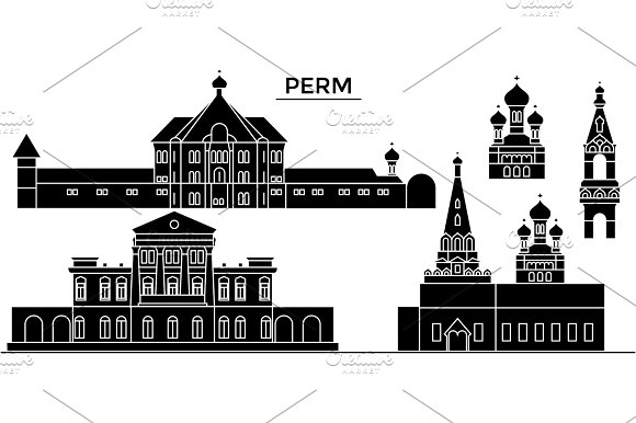 Russia, Perm architecture urban skyline with landmarks, cityscape, buildings, houses, ,vector city landscape, editable strokes