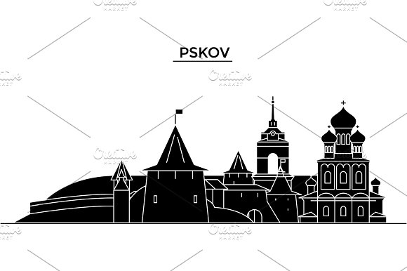 Russia, Pskov architecture urban skyline with landmarks, cityscape, buildings, houses, ,vector city landscape, editable strokes