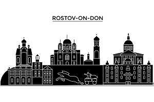 Russia, Rostov-On-Don architecture skyline with landmarks, urban cityscape, buildings, houses, ,vector city landscape, editable strokes