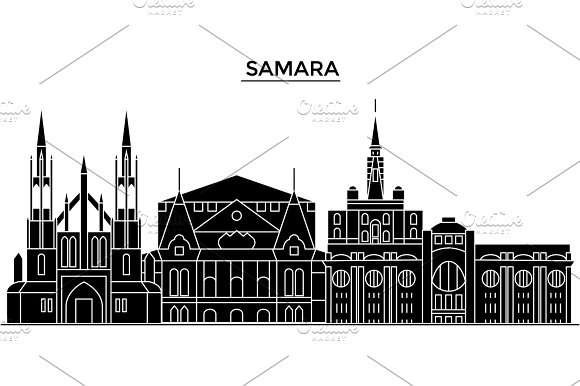Russia, Samara architecture urban skyline with landmarks, cityscape, buildings, houses, ,vector city landscape, editable strokes