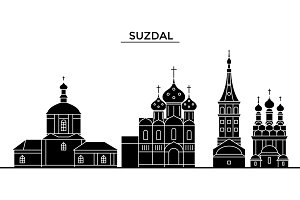 Russia, Suzdal architecture urban skyline with landmarks, cityscape, buildings, houses, ,vector city landscape, editable strokes