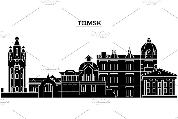 Russia, Tomsk architecture urban skyline with landmarks, cityscape, buildings, houses, ,vector city landscape, editable strokes in Illustrations