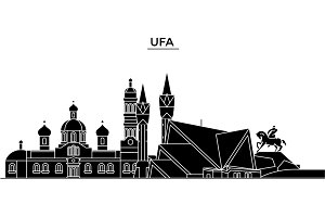 Russia, Ufa architecture urban skyline with landmarks, cityscape, buildings, houses, ,vector city landscape, editable strokes
