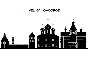 Russia, Veliki Novgorod architecture urban skyline with landmarks, cityscape, buildings, houses, ,vector city landscape, editable strokes