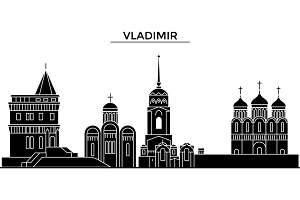 Russia, Vladimir architecture urban skyline with landmarks, cityscape, buildings, houses, ,vector city landscape, editable strokes