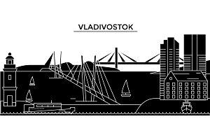 Russia, Vladivostok architecture urban skyline with landmarks, cityscape, buildings, houses, ,vector city landscape, editable strokes