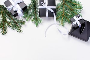 Christmas background with black gift