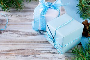 Christmas blue gift box