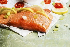 Salmon fillet cooking preparation