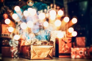 Christmas  gift boxes with bokeh
