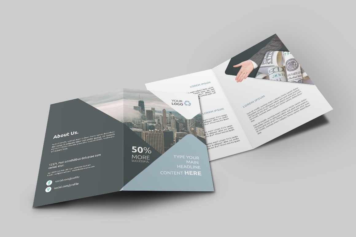 Business Bi-Fold Brochure ~ Brochure Templates ~ Creative Market