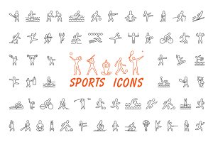Sports icons and figure athletes