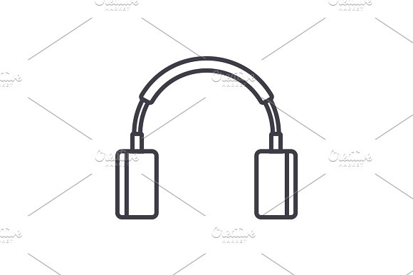 Headphones Sign Vector Line Icon Sign Illustration On Background Editable Strokes
