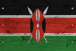 Kenya national flag painted old oak wood fastened