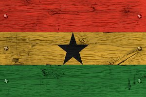 Ghana national flag painted old oak wood fastened