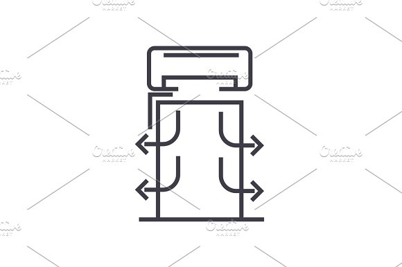 heat curtains vector line icon, sign, illustration on background, editable strokes