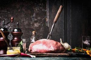 Pork ham cooking preparation