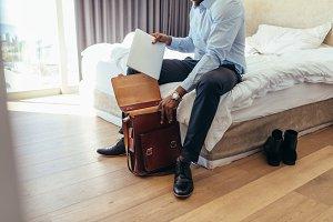 Man preparing his bag