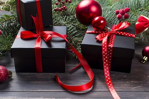 Black and red christmas decorations